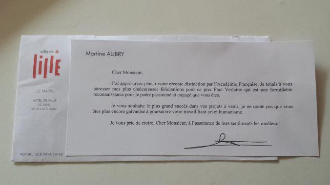 Lettre remerciement Martine Aubry