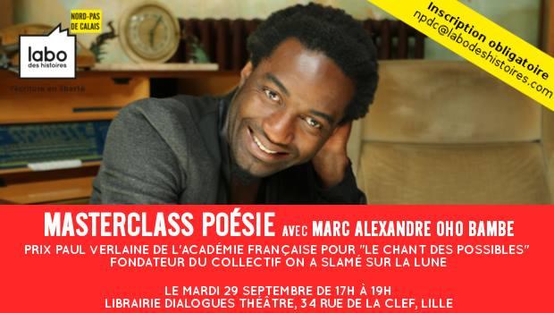Masterclass Poesie avec Marc Alexandre Oho Bambe