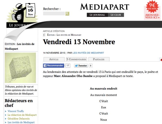Mediapart vendredi 13